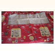 Vintage Tablecloth Kitchenware Theme Cotton 52 x 64 Mint!