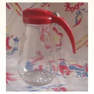 Vintage Plastic and Glass Kitchenware Syrup Pitcher