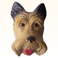 Vintage CHALKWARE Scottie Dog Face Wall Plaque Mint Condition and Adorable!
