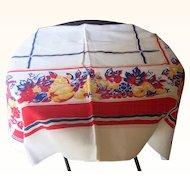 Vintage Tablecloth Fruit Motif 48 x 48 Inches Mint Condition!