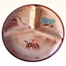 Vintage Cowboy Western Motif Grill Plate DEL CORONADO Mint with Foil Label