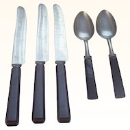 Vintage Bakelite Kitchenware Flatware Black Bakelite 5 Pieces