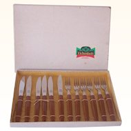 Vintage BAKELITE Kitchenware Flatware Appetizer or Desert Set Marked ROSTFREI Svc for 6 Mint in Box!