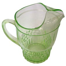 Green Depression Glass Vintage Glass Pitcher Mint!