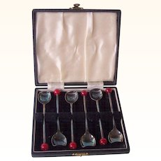 Demitasse Vintage Spoon Set Svc. for 6 with Red Bakelite Coffee Bean Tip in Original Box Marked EPNS