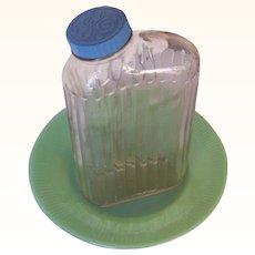 GE Vintage Glass Refrigerator Jar or Bottle Ridged Design
