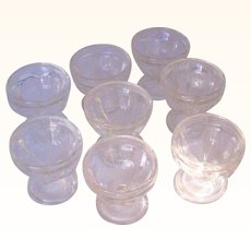 Vintage Glass Sherbert or Dessert Dishes or Glasses Set of 8 Optic Panel Pattern
