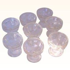 Vintage Glass Sherbert or Dessert Dishes or Glasses Set of 8 Optic Panel Pattern