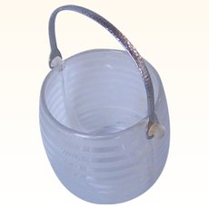 Glass Vintage Ice Bucket with Hammered Aluminum Handle Frosted Glass Art Deco Motif