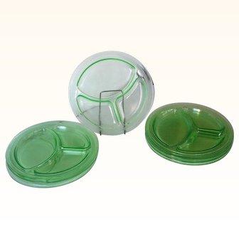 Vintage Depression Glass Grill Plates Green Set of 8 Mint!