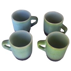 Vintage FIRE KING Mugs Marked Anchor Hocking Green/Black Stackable