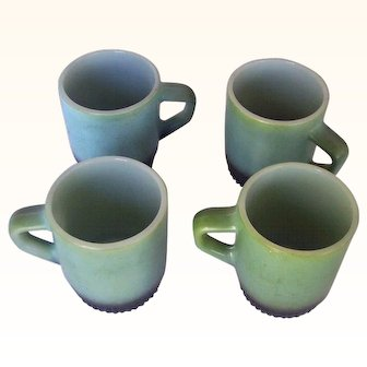 Vintage FIRE KING Mugs Marked Anchor Hocking Green/Black Stackable