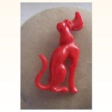 WHIMSICAL Vintage Plastic Brooch Red Dog!