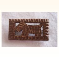 Vintage WOOD Brooch Scottie Dog Brooch Carved Wood