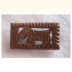 Vintage WOOD Brooch Scottie Dog Brooch Carved Wood