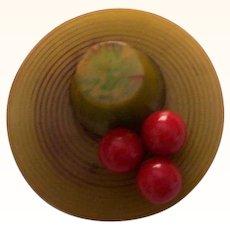 Vintage Bakelite Hat Brooch Pin with Cherry Red Bakelite Cherries Mint!