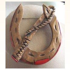 UNUSUAL Vintage Wooden Horseshoe Brooch WESTERN Motif Carved Deeply