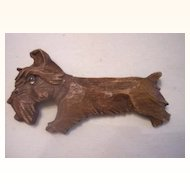 UNUSUAL Vintage Wood Brooch - Scottie Dog - Carved Deeply - Lucite Eye!