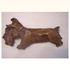 UNUSUAL Vintage Wood Brooch - Scottie Dog - Carved Deeply - Lucite Eye!