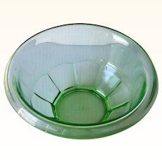 Vintage HAZEL ATLAS Green Depression Glass Bowl, Mixing Bowl 7 1/2 inches Mint Condition!