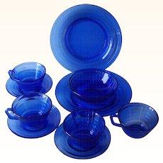 Vintage DEPRESSION Glass Cobalt Blue MODERNTONE Pattern Plates, Cups, Saucers, Bowl 10 Pieces Mint Condition!