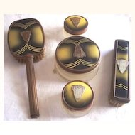 Vintage Dresser Set  Vanity Set- Enamel over Brass Art Deco Design, Five Pieces