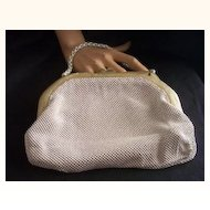 Vintage WHITING AND DAVIS Alumesh Purse with Pearlized Vintage Plastic Frame Mint!