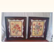 LOVELY Vintage Prints Pair Vases with Flowers Art Deco Motif and Colors!