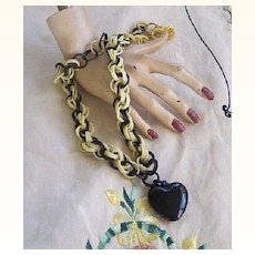Vintage CELLULOID Necklace Link Necklace with Celluloid Puffed Heart Pendant Rare!