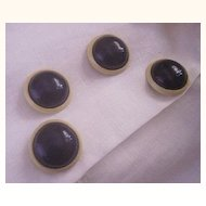 UNUSUAL Vintage CELLULOID Buttons Set of 4 Two Toned Celluloid