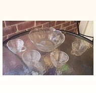 Vintage Glass Punch Bowl Set with Four Beverage Cups Grape and Leaf Motif