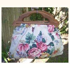 Vintage Fabric BERMUDA Handbag Purse Floral Motif Textured Cotton Mint!