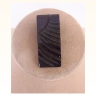 Vintage BAKELITE Dress Clip Carved Deeply Art Deco Motif Jet Black Bakelite