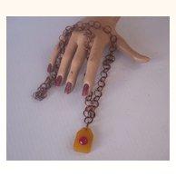 Vintage BAKELITE Necklace Two Toned Bakelite Pendant Necklace Copper Link Chain