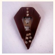Vintage BAKELITE Dress Clip Carved Deeply with Rhinestones Art Deco Motif Stunning!