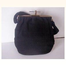 Vintage Black Wool Felt Purse Handbag with LUCITE Closure and Brass Hardware!