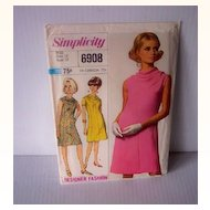 Vintage SIMPLICITY Pattern Designer Fashion Dress #6908 Uncut Dated 1966