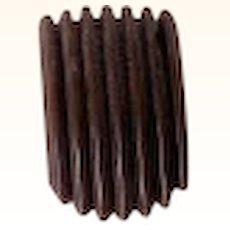 Vintage BAKELITE Dress Clip, Carved Deeply, Chocolate Brown Bakelite, Art Deco Motif Mint!