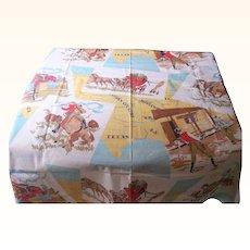 """Vintage Cotton CHINTZ/Polished Cotton Fabric Cowboy Western Motif & Maps 36"""" Square Mint and Unique!"""