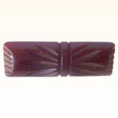 Vintage BAKELITE Brooch Carved Very Deeply Dark Maroon Colored Bakelite Art Deco Motif