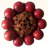 Vintage Wooden Beaded Brooch Round Wood Brooch Mint Condition!