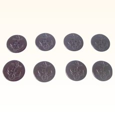 Vintage BAKELITE Buttons Set of 8 Carved Deeply Anchor Motif 1 3/4 Inch Round