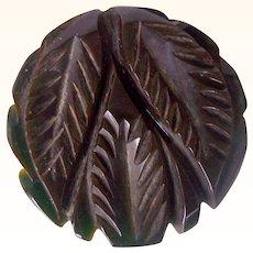 Vintage BAKELITE Dress Clip Carved Deeply Leaf Motif Jet Black Bakelite