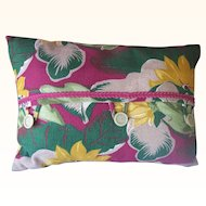 Vintage BARKCLOTH Textile Fabric Pillow with Vintage Trim and Buttons Tropical Floral Motif Mint!