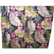 Vintage BARKCLOTH Fabric Drapery Panel Tropical Floral Motif 1 1/2 Yards Mint