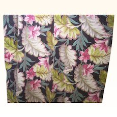 Vintage BARKCLOTH Fabric Drapery Panel Tropical Floral Motif 1 1/2 Yards Mint