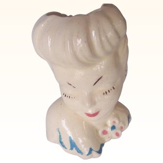 Vintage Lady Head Vase Large with Art Deco Hairdo Painted Details