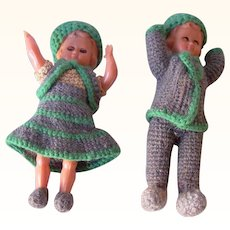 Vintage Hard Plastic Dolls, Pair with Matching Crocheted Outfits, Sleep Eyes Mint Condition!