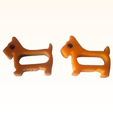 Vintage BAKELITE Scottie Dog Napkin Rings, Two Carved with Rodded Eyes Mint!