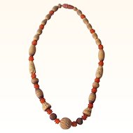 Vintage GALALITH Necklace Choker Carved Deeply Multi-Colored Ivory, Rust and Brown Mint!!